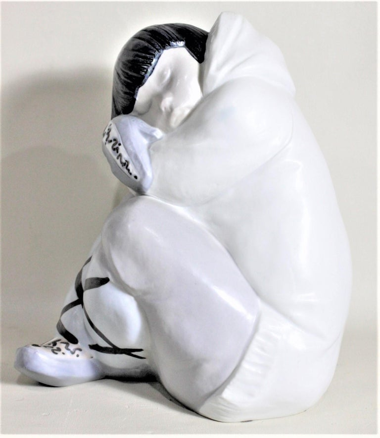 Porcelain Large Lladro Yupik or Inuit Boy Crouched and Resting Figurine or Sculpture For Sale