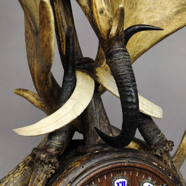 19th Century Large Lodge Style Black Forest Antler Mantel Clock, 1900 For Sale