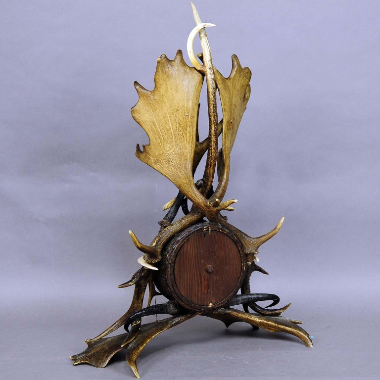 Large Lodge Style Black Forest Antler Mantel Clock, 1900 For Sale 1