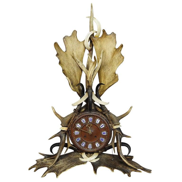 Large Lodge Style Black Forest Antler Mantel Clock, 1900 For Sale