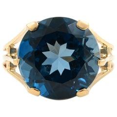 Large London Blue Topaz 8.5 Carat Ring 14 Karat Rose Gold