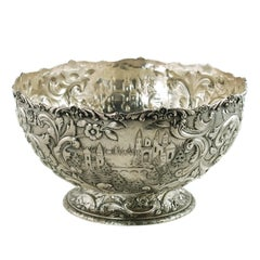 Large Loring Andrews Sterling Silver Footed Punch Bowl Repoussé Castle Pattern
