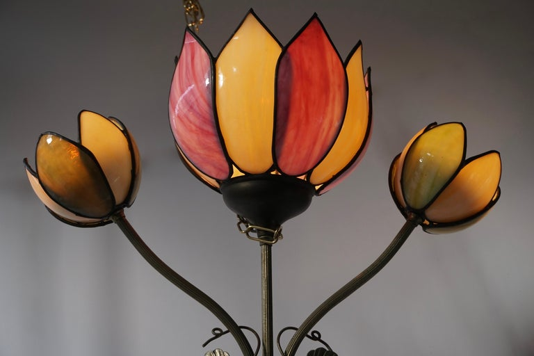 Hollywood Regency Large Lotus Flower Wall Lamp For Sale