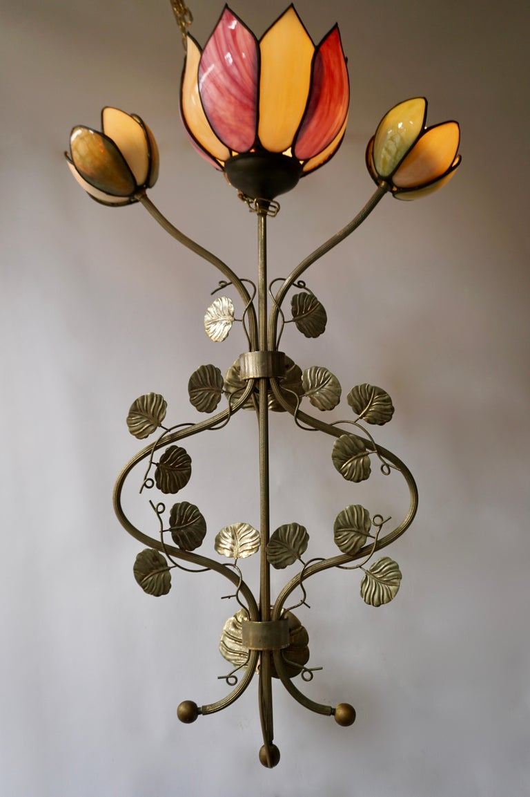 Italian Large Lotus Flower Wall Lamp For Sale