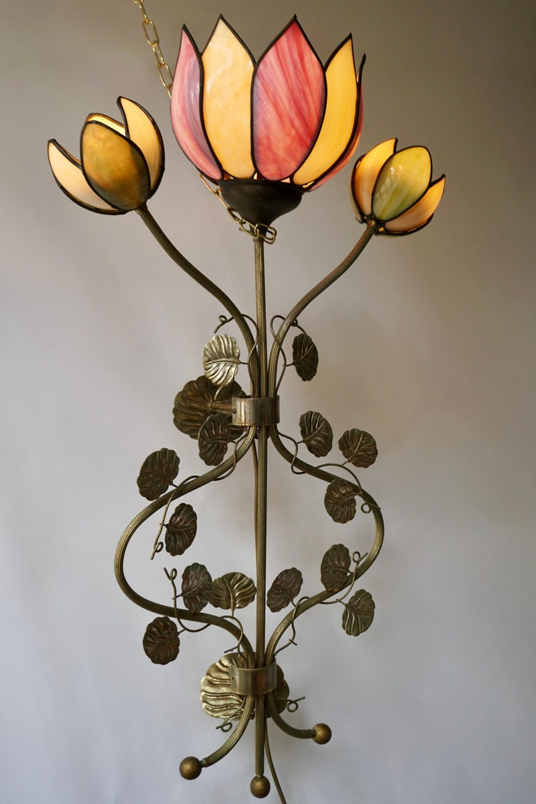 20th Century Large Lotus Flower Wall Lamp For Sale
