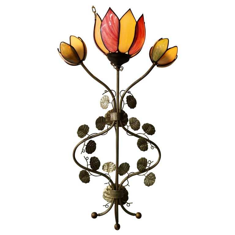 Large Lotus Flower Wall Lamp For Sale