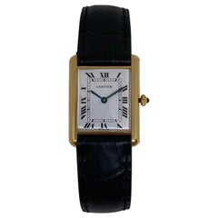 Large Louis Cartier Tank 18 Karat Yellow Gold Black Strap Classic Quartz Watch