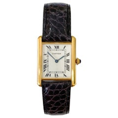 Large Louis Cartier Tank 18 Karat Yellow Gold Brown Strap Classic Quartz Watch
