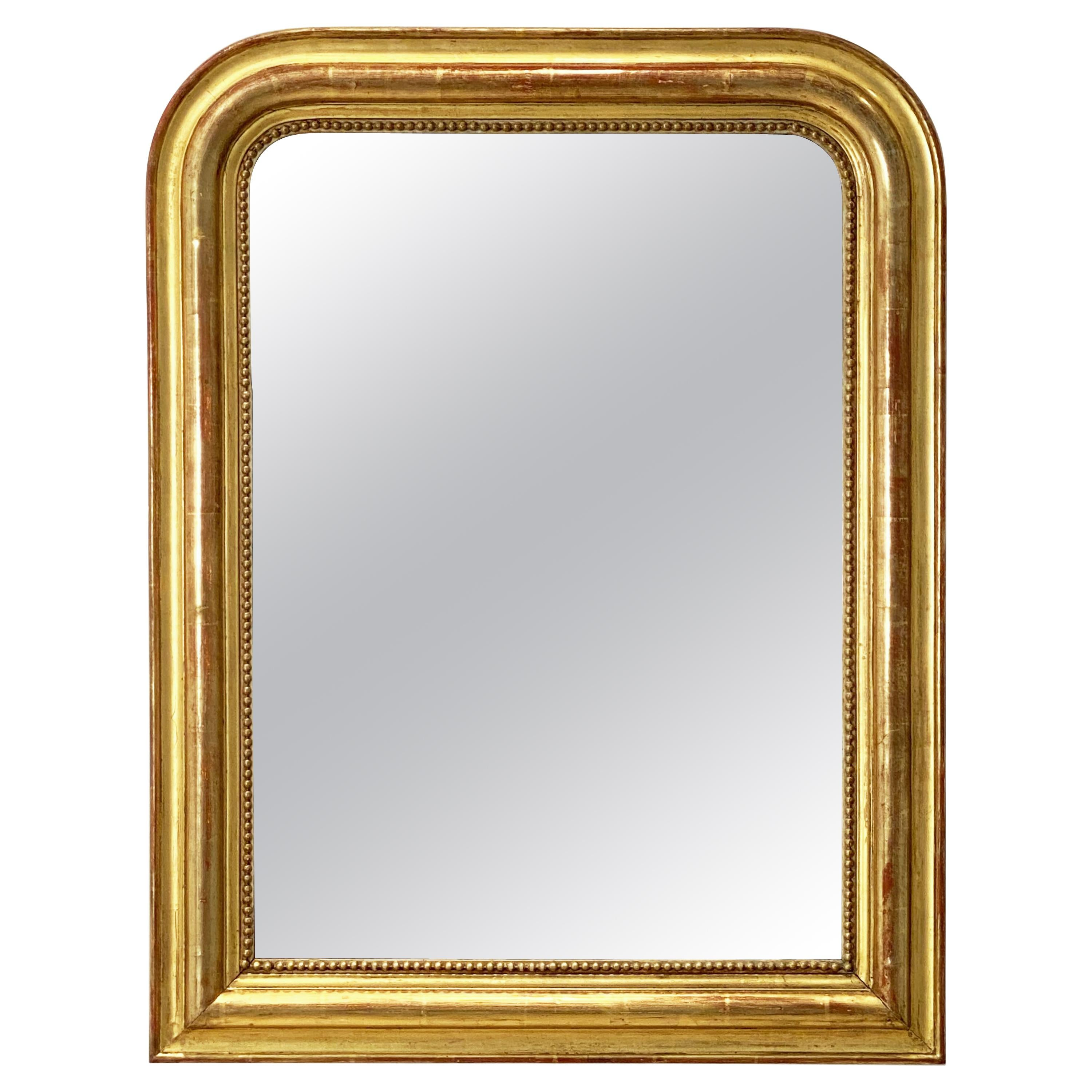 Large Louis Philippe Arch Top Gilt Mirror From France (H 30 7/8 X W 23 3/4)