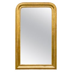 Large Louis Philippe Arch Top Gilt Mirror (H 49 3/4 x W 30 1/2)