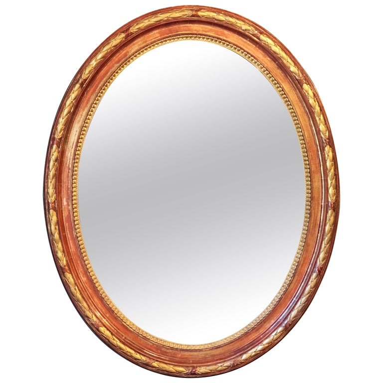 Large Louis Philippe Oval Framed Gilt Mirror (H 45 3/4 x W 36 3/4) For Sale