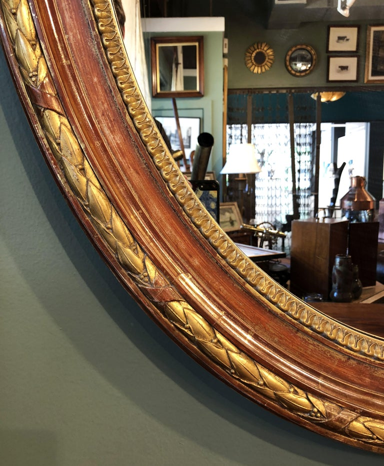 Large Louis Philippe Oval Framed Gilt Mirror (H 45 3/4 x W 36 3/4) For Sale 4