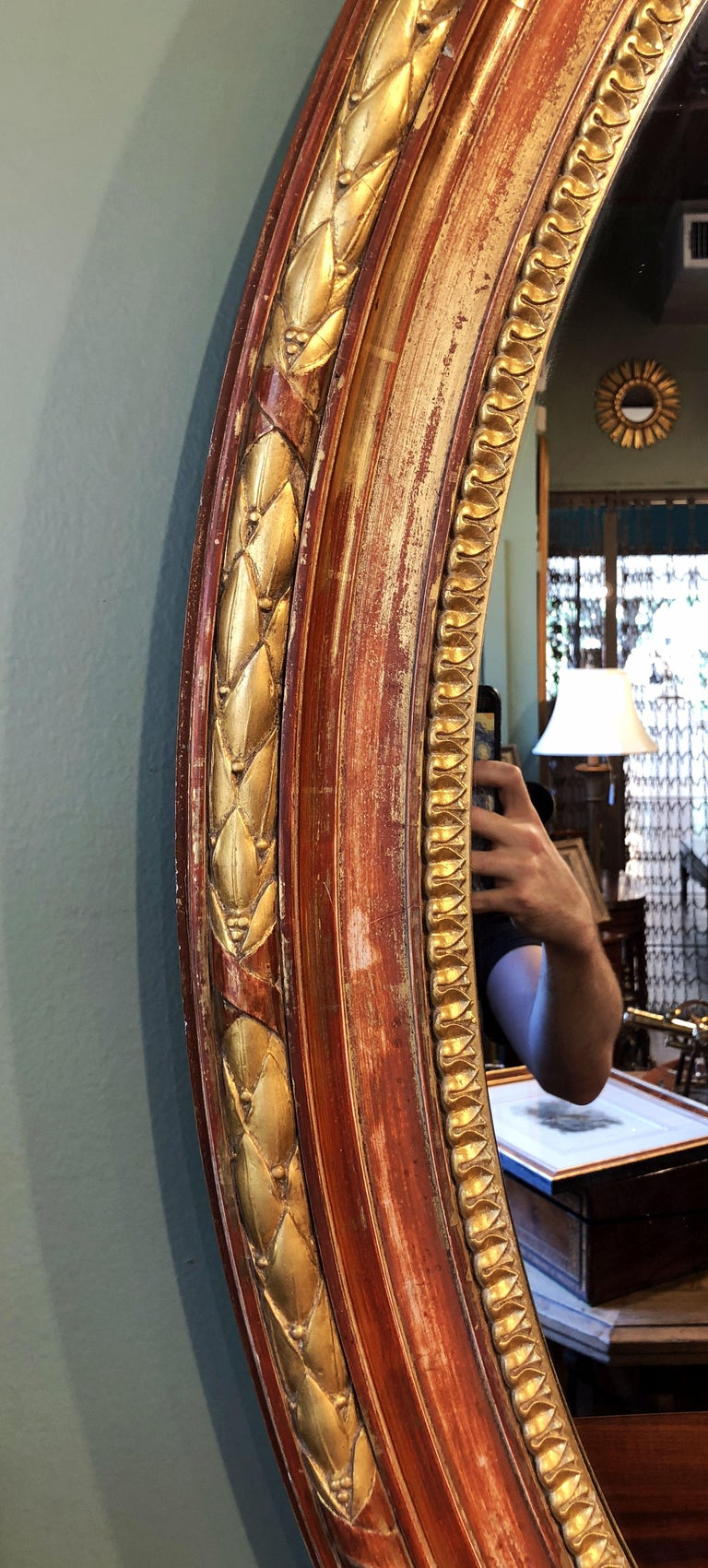 Large Louis Philippe Oval Framed Gilt Mirror (H 45 3/4 x W 36 3/4) For Sale 5