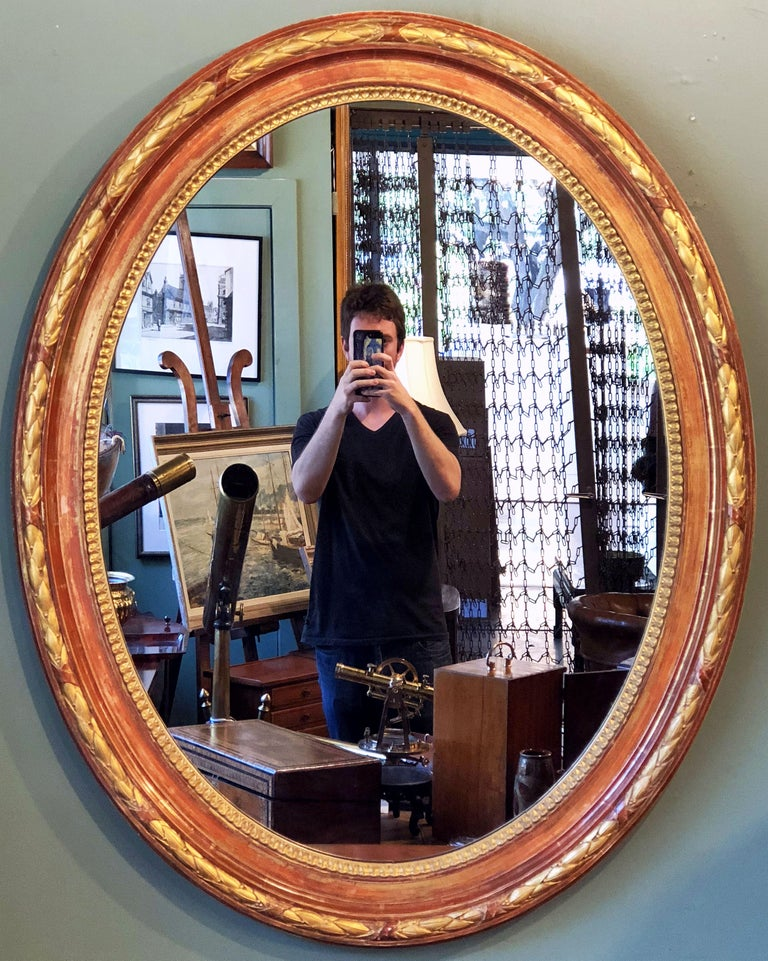 Large Louis Philippe Oval Framed Gilt Mirror (H 45 3/4 x W 36 3/4) For Sale 7