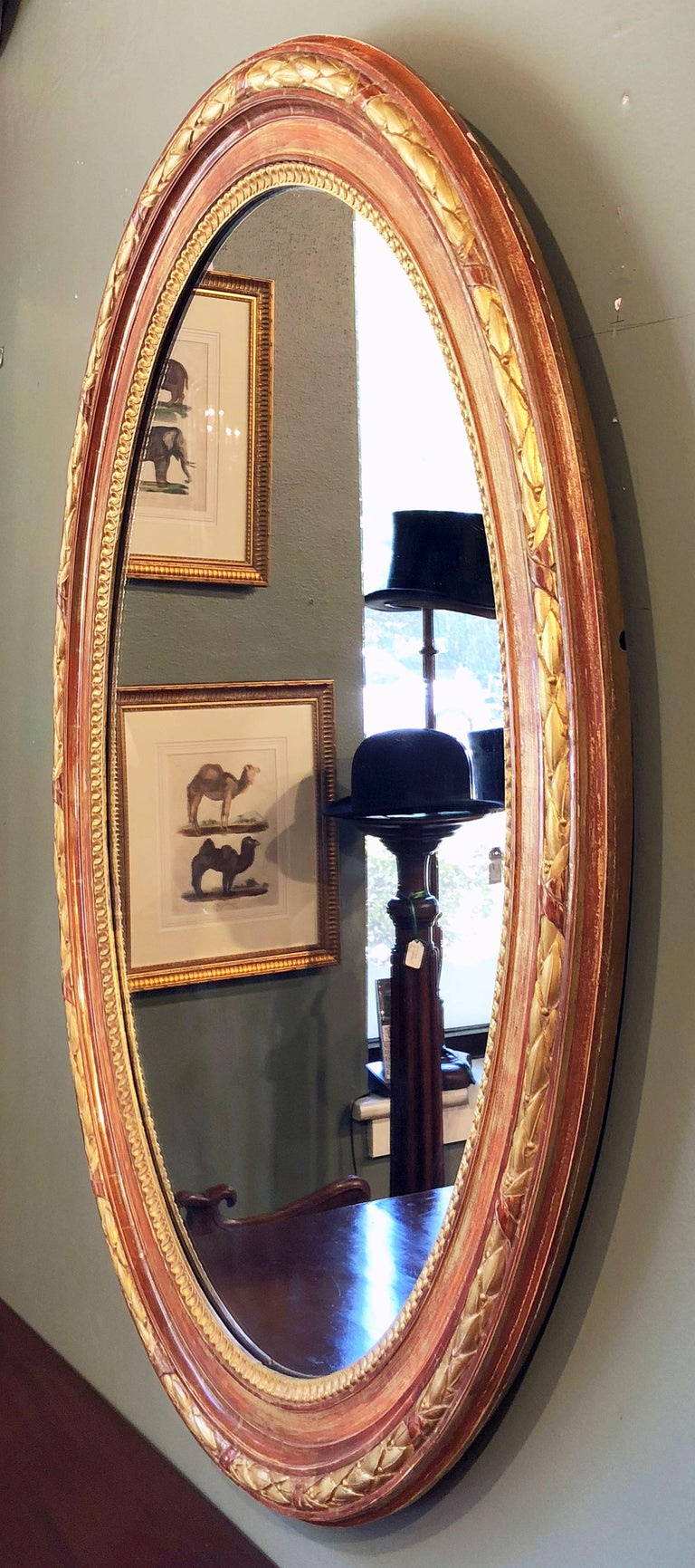 French Large Louis Philippe Oval Framed Gilt Mirror (H 45 3/4 x W 36 3/4) For Sale