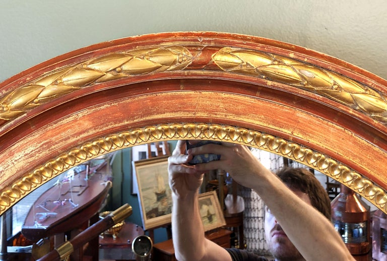 Large Louis Philippe Oval Framed Gilt Mirror (H 45 3/4 x W 36 3/4) In Good Condition For Sale In Austin, TX