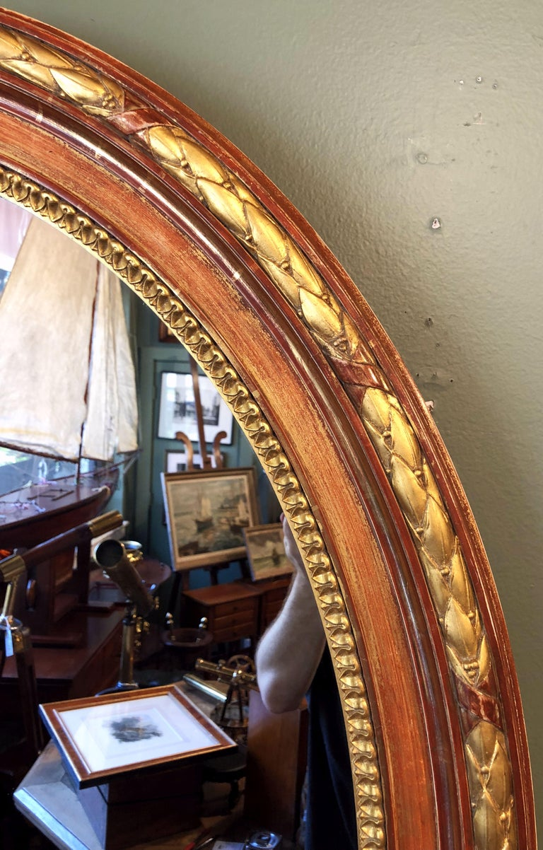 19th Century Large Louis Philippe Oval Framed Gilt Mirror (H 45 3/4 x W 36 3/4) For Sale