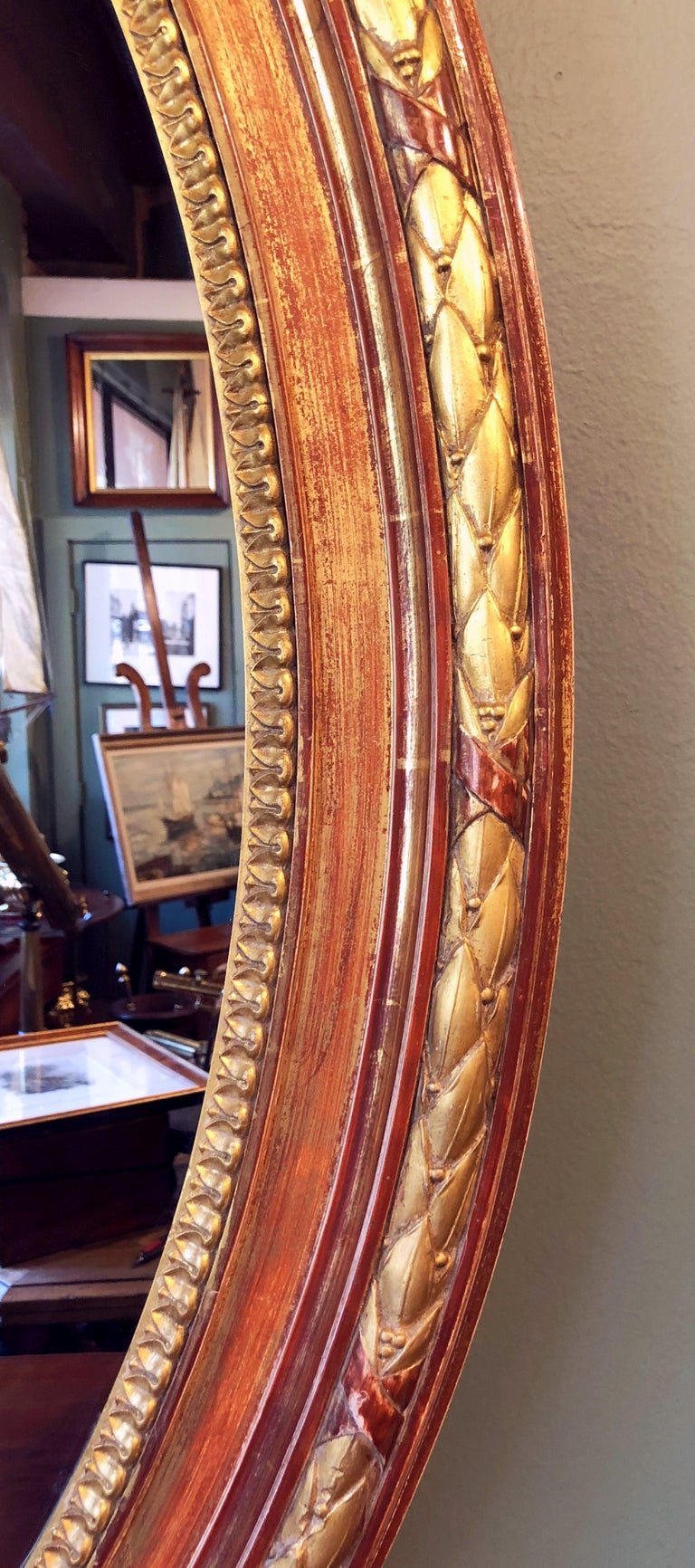 Giltwood Large Louis Philippe Oval Framed Gilt Mirror (H 45 3/4 x W 36 3/4) For Sale