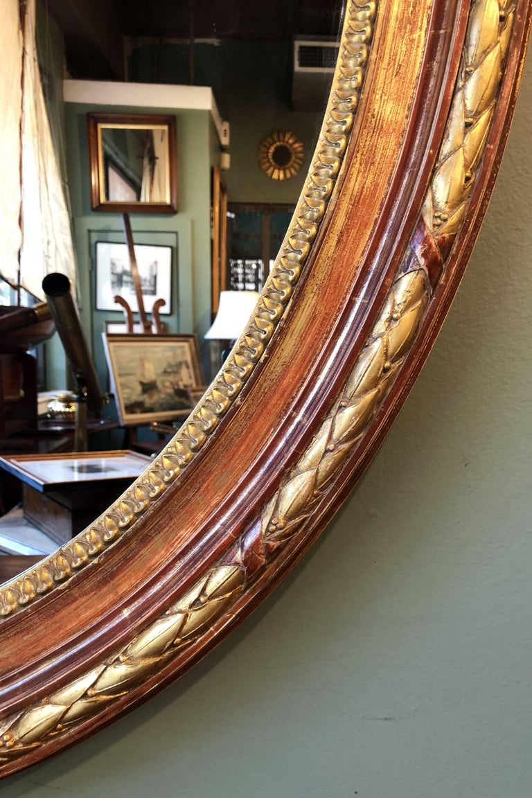 Large Louis Philippe Oval Framed Gilt Mirror (H 45 3/4 x W 36 3/4) For Sale 1
