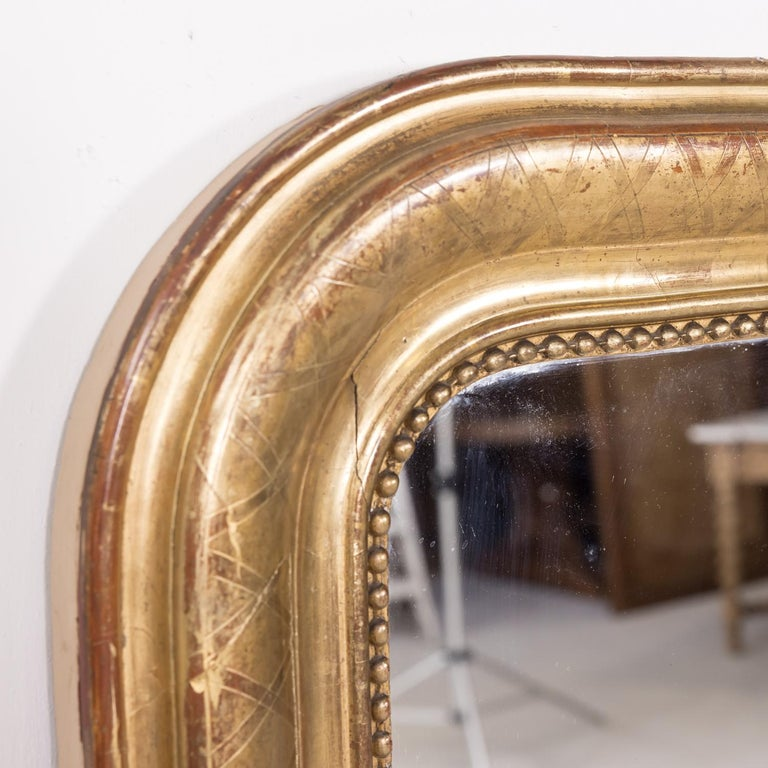 French Large Louis Philippe Period Giltwood Mirror with Cross Hatch Etching For Sale