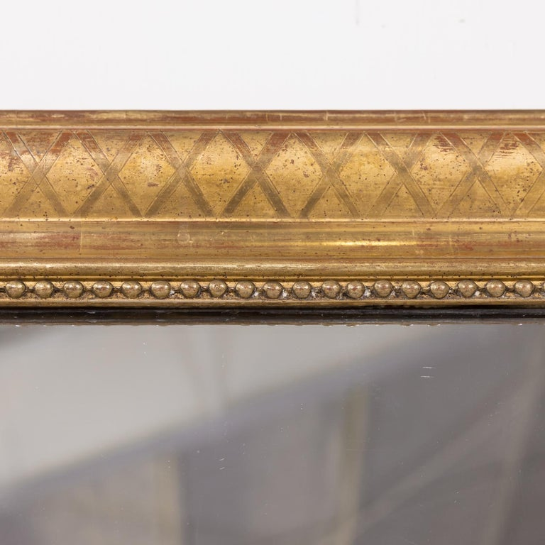 Large Louis Philippe Period Giltwood Mirror with Cross Hatch Etching In Good Condition For Sale In Birmingham, AL