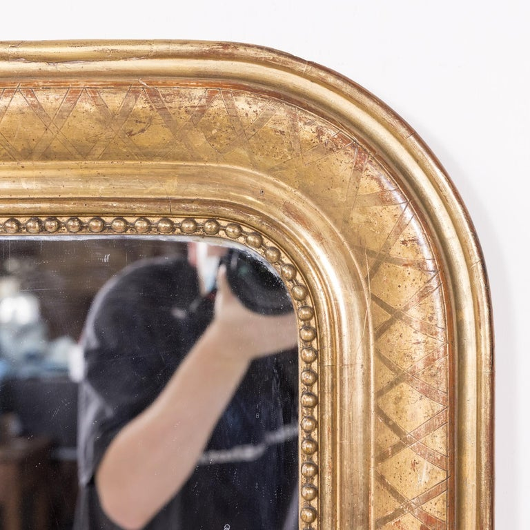 Mid-19th Century Large Louis Philippe Period Giltwood Mirror with Cross Hatch Etching For Sale