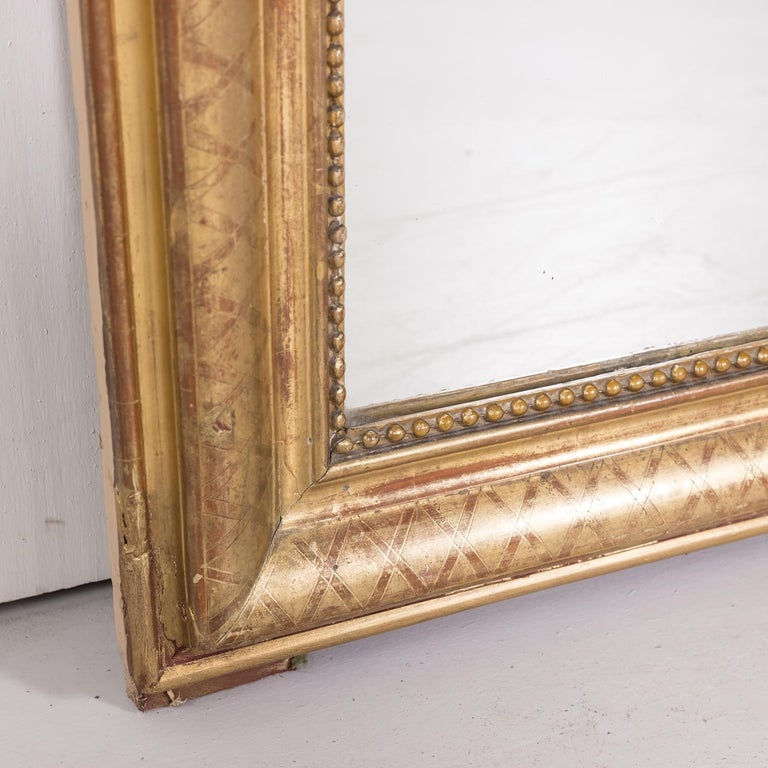 Large Louis Philippe Period Giltwood Mirror with Cross Hatch Etching For Sale 1