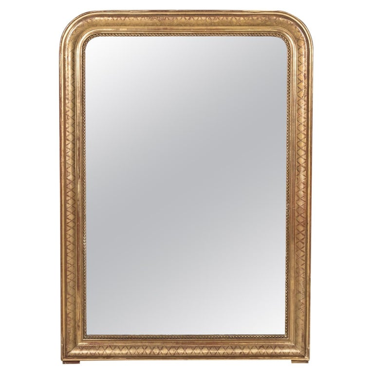 Large Louis Philippe Period Giltwood Mirror with Cross Hatch Etching For Sale