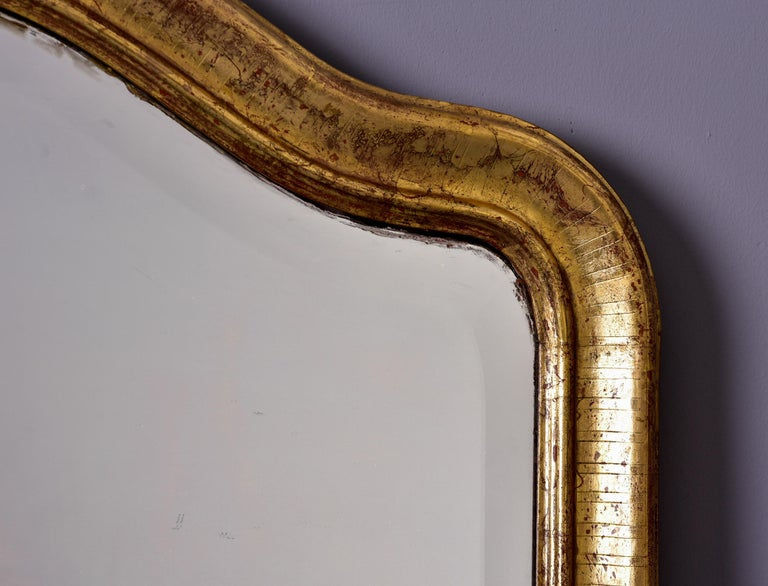 19th Century Large Louis Phillippe Gilt Mirror with Crest For Sale