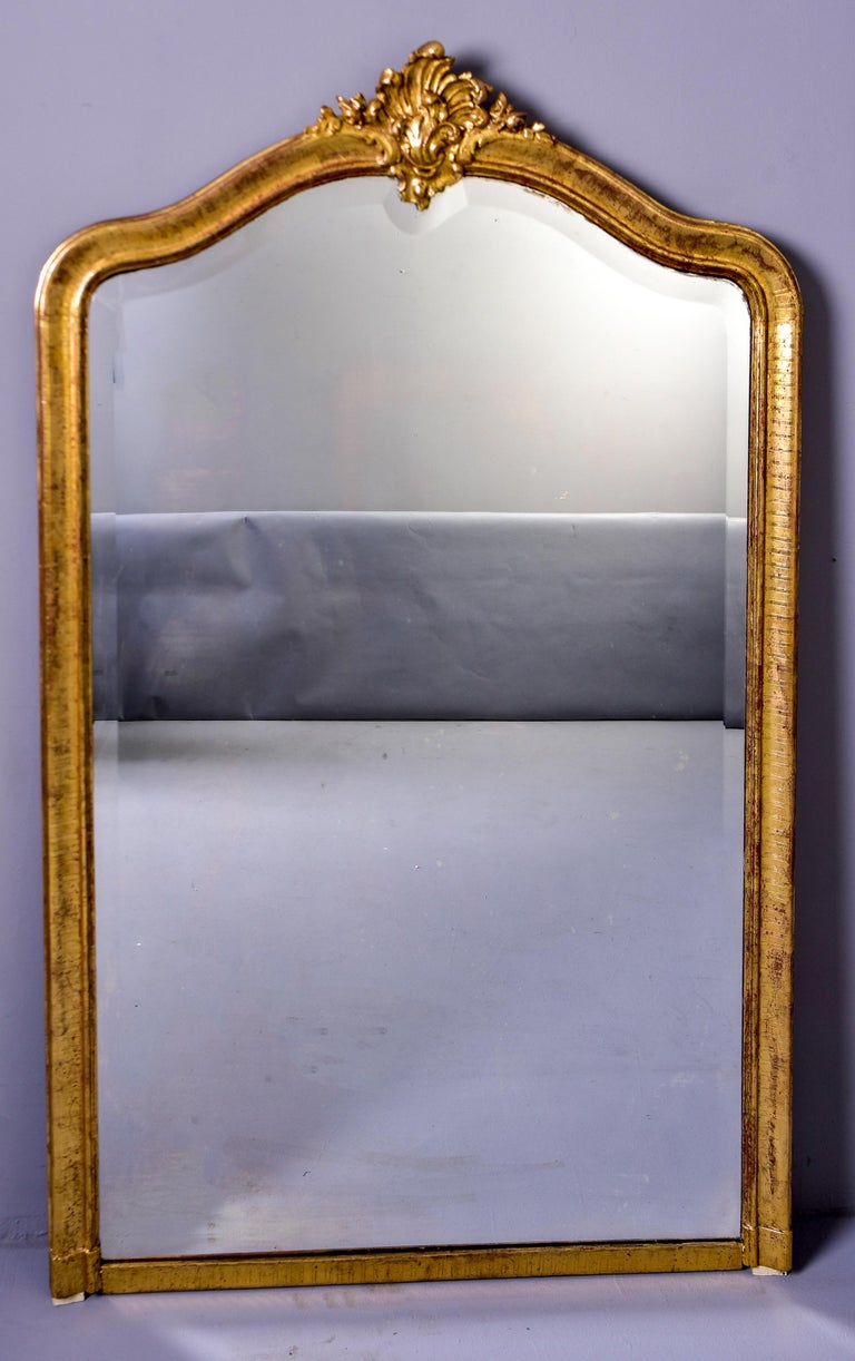 Large Louis Phillippe Gilt Mirror with Crest For Sale 2