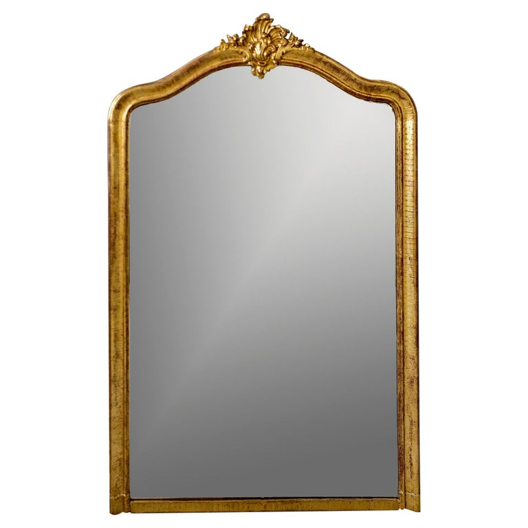 Large Louis Phillippe Gilt Mirror with Crest For Sale