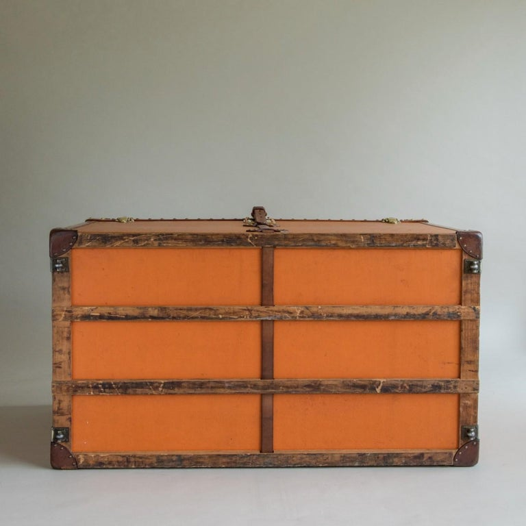Early 20th Century Large Louis Vuitton Orange Steamer Trunk, circa 1925 For Sale