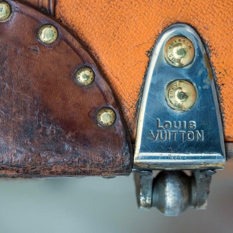 Large Louis Vuitton Orange Steamer Trunk, circa 1925 For Sale 13