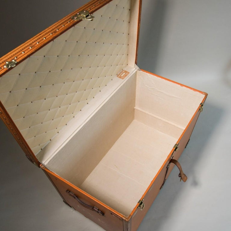 Brass Large Louis Vuitton Orange Steamer Trunk, circa 1925 For Sale