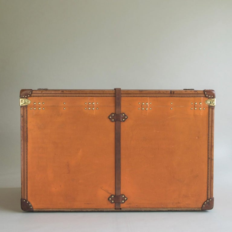 French Large Louis Vuitton Orange Steamer Trunk, circa 1925 For Sale