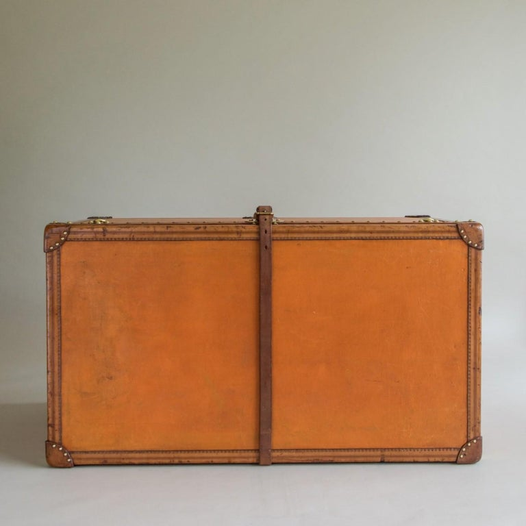 Large Louis Vuitton Orange Steamer Trunk, circa 1925 In Good Condition For Sale In London, GB