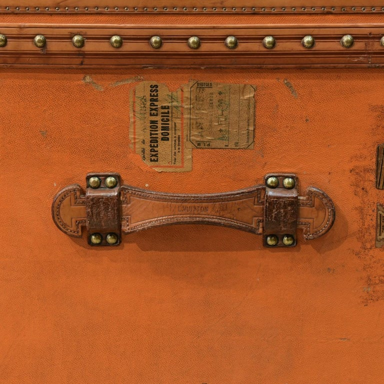 Large Louis Vuitton Orange Steamer Trunk, circa 1925 For Sale 1