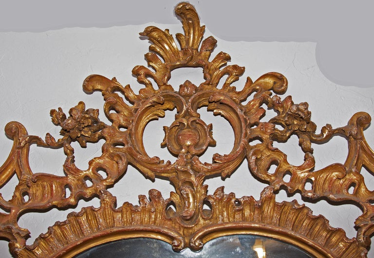 European Large Louis XV over Mantel Giltwood Mirror For Sale