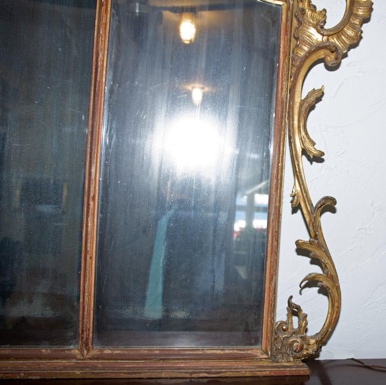19th Century Large Louis XV over Mantel Giltwood Mirror For Sale
