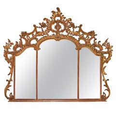 Large Louis XV over Mantel Giltwood Mirror