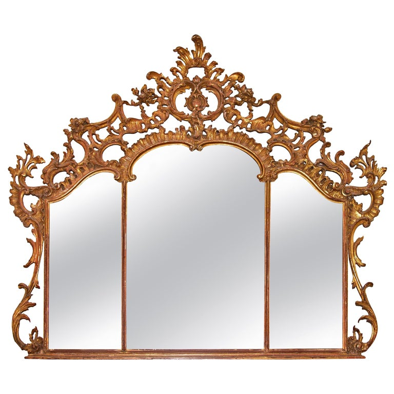 Large Louis XV over Mantel Giltwood Mirror For Sale
