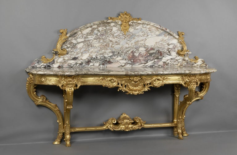French Large Louis XV Style Carved Giltwood Console Table by Wandenberg, circa 1880 For Sale