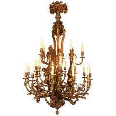 Large Louis XV Style Figural Gilt-Bronze Ballroom Twenty-Seven Light Chandelier