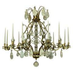Large Louis XV Style Gilt Bronze and Rock Crystal Chandelier