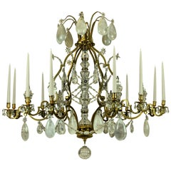 Large Louis XV Style Gilt Bronze Rock Crystal Chandelier