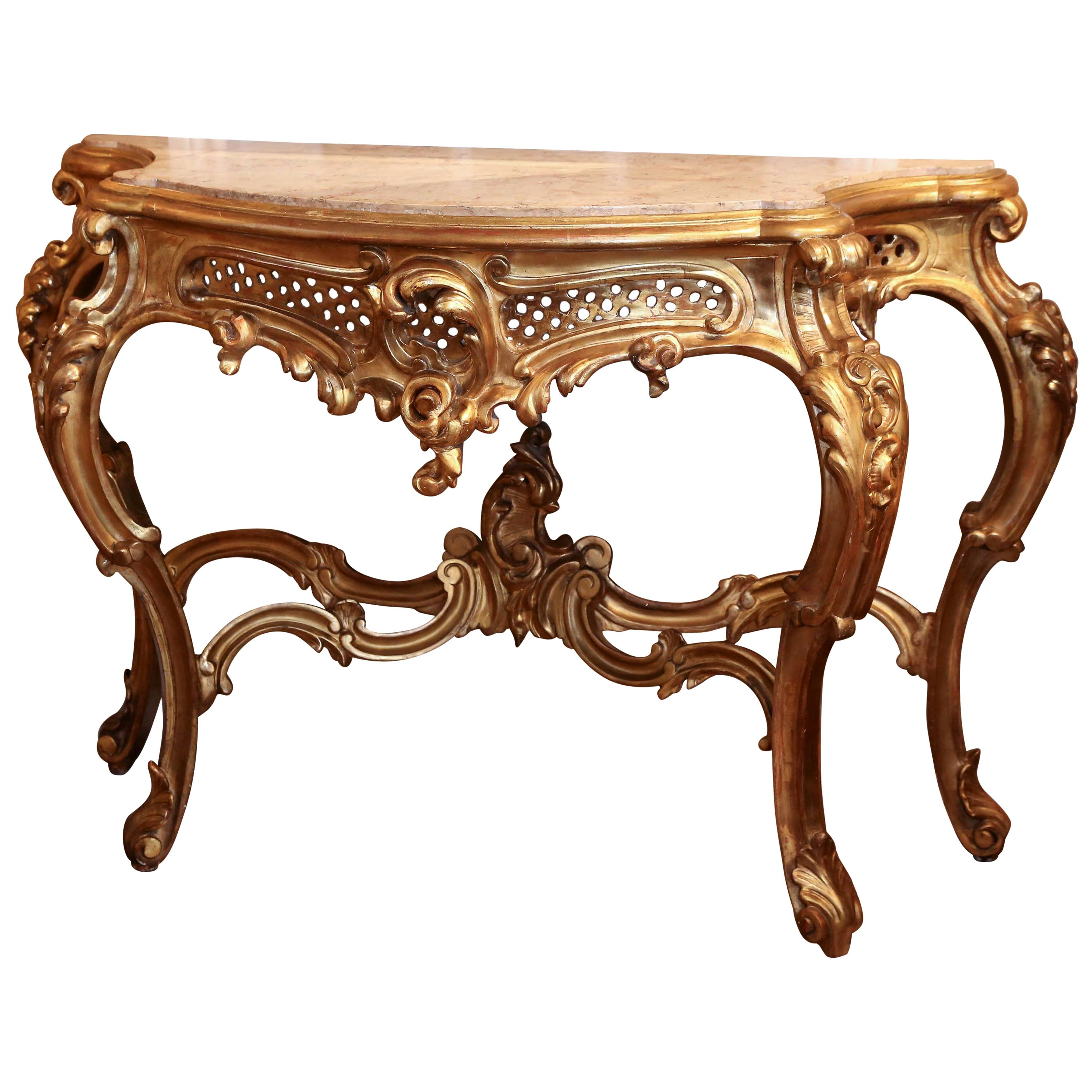 Large Louis XV Style Giltwood Console Table, 19th Century with Marble Top