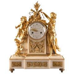 Large Louis XVI clock (1780), Venus and cherub, Amor wird seiner Waffen beraubt