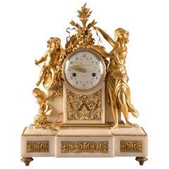 Large Louis XVI Clock '1780', Venus and Cherub, Amor Wird Seiner Waffen Beraubt