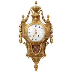 Large Louis XVI Gilt Bronze Antique French Cartel Wall Clock