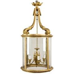 Large Louis XVI Gilt-Bronze Cylindrical Hall Lantern